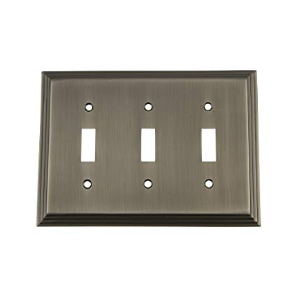 Nostalgic Warehouse 719808 Deco Switch Plate with Triple Toggle, Antique Pewter