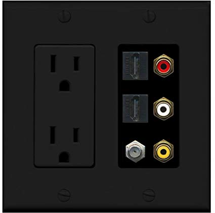 RiteAV - 2 x 15 Amp 125V Power Outlet 3 x RCA - 2 X HDMI and 1 x Coax Cable TV Port Wall Plate Black