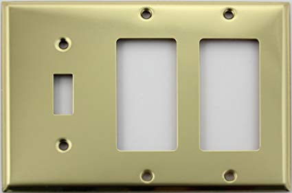 Polished Brass Three Gang Wall Plate - One Toggle Two GFI/Rocker Openings