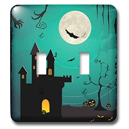 3dRose lsp_152299_2 Halloween Haunted House with A Full Moon, Bats, and Pumpkins Double Toggle Switch