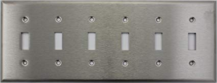 Brushed Satin Stainless Steel 6 Gang Toggle Switch Wall Plate