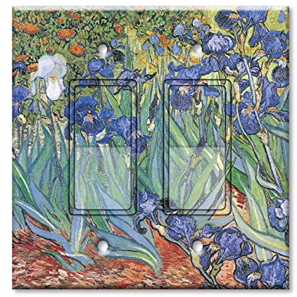 Printed Decora Rocker Style Double Switch with matching Wall Plate - Van Gogh: Irises